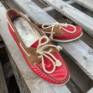 Aperture red patent leather boat shoes